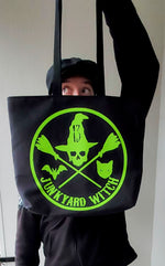 Load image into Gallery viewer, Junkyard Witch Club Tote Bag (white/green)
