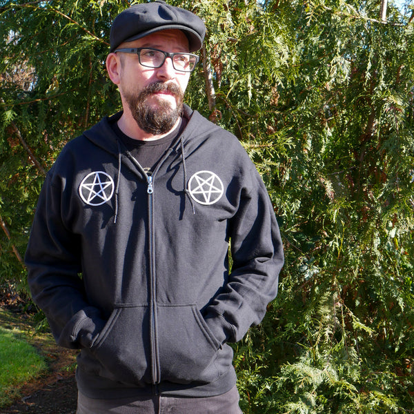 black hoodie with pentacle patches