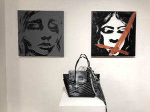 This collection is called WEARABLE and features artwork from contemporary artist Colette von. The handbag was a collaboration between Colette and Los Angeles' handbag designer, Vivian Vette.