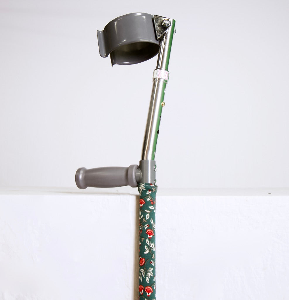 Green and Red Floral Crutch Skin