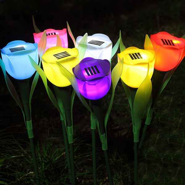 7Colors Solar lawn lamp LED open air Garden Tulip solar stake ligh Lawn Lamp Landscape Night Flower Lamp