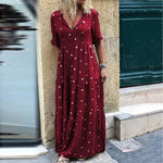 Large Size Summer Women Long Dress Fashion Dot Print Half Sleeve Ladies Straight Dress V-Neck Ankle Length Female Maxi Dress