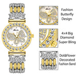 MISSFOX Butterfly Women Watches Luxury Brand Big Diamond 18K Gold Watch Waterproof Special Bracelet Expensive Ladies Wrist Watch