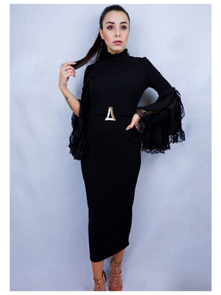 Sheinside Black Contrast Lace Flounce Sleeve Dress Women 2019 Autumn Frilled Neck Pencil Dresses Ladies Solid Split Party Dress