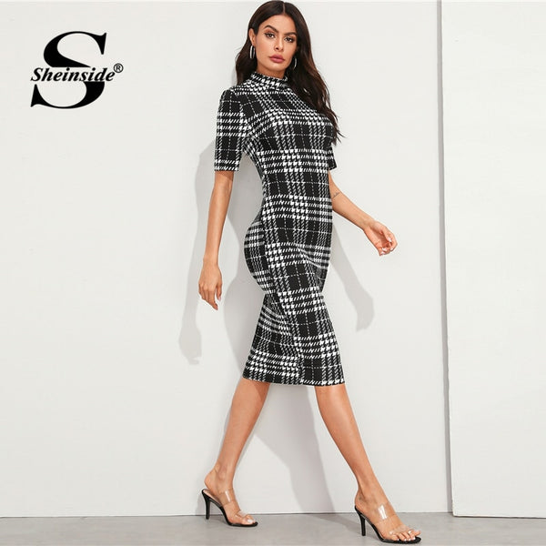 Sheinside Elegant Stand Collar Houndstooth Midi Dress Women 2019 Autumn Short Sleeve Pencil Dresses Ladies Plaid Bodycon Dress