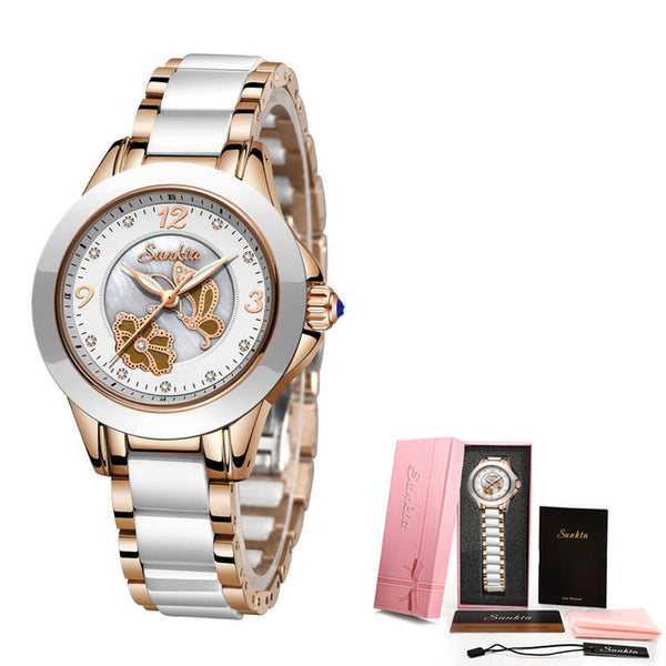 Gift SUNKTA Rose Gold Watches Women Fashion Watch Luxury Brand Quartz Wristwatch Ladies Bracelet Women's Watches For Women Clock
