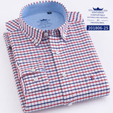 Men's Oxford 100% Cotton Fashion Stripe Casual Long Sleeve Shirts Retro Style High Quality Design Men's Dress Shirts Blouse