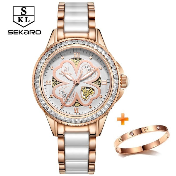 SEKARO Women Ceramic Rhinestone Quartz Watches Women's Wristwatch Top Brand Luxury Woman Sapphire Crystal Clock Relogio Feminino