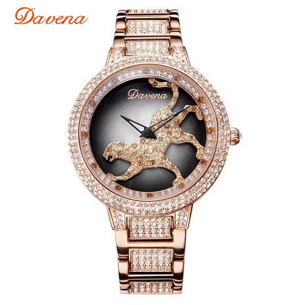 Women's Luxury Bling Rhinestone Spinning Leopard Watches Women Fashion Trendy Quartz Watch Rose Gold Silver Ladies Clock Gift
