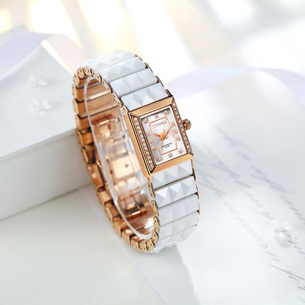 Time100 luxury Women's Ceramic Watches Quartz Watch Diamond Dial Ladies Casual Bracelet Watches For Women relogios feminino