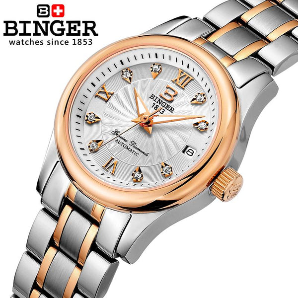 Switzerland BINGER Women's watches luxury18K gold Mechanical Wristwatches full stainless steel Waterproof Wristwatches B-603L-5