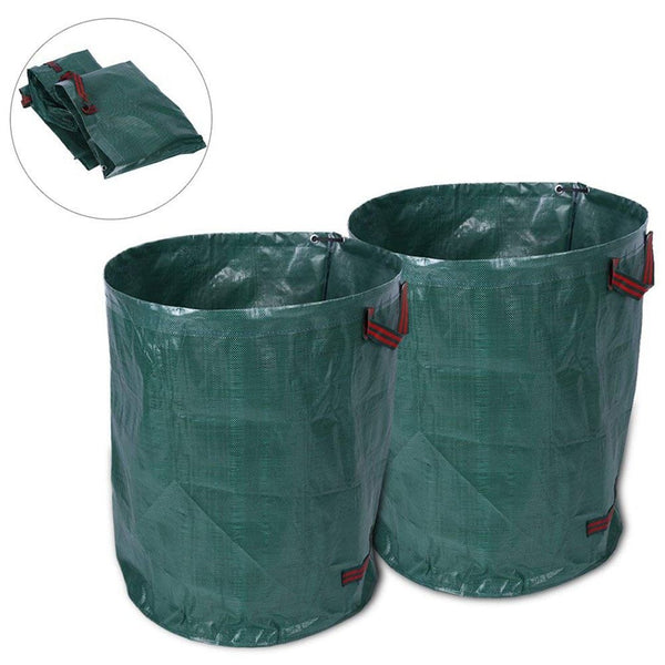 Garden Waste Bag 2 pcs 270 Litre Large Garden Waste Bag Garden Refuse Rubbish Sack Bin with Double Stitched Handle Recycling