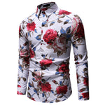 Luxury Floral Print Shirts Men's Stylish Casual Dress Shirt  Male Slim Fit  Formal Long Sleeve HOT