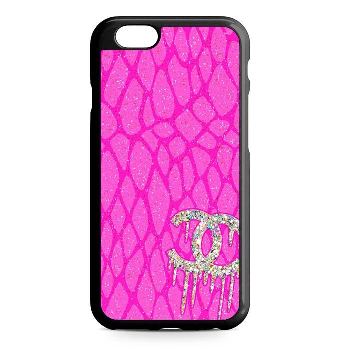 pink logo chanel iPhone Case