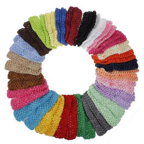 50 Baby Girls Crochet Stretchy Hair Headband Hairband Assorted Colors