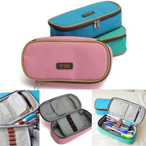 Large Capacity Canvas Zipper Pencil Case Pen Cosmetic Travel Makeup Bag