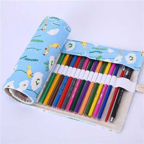 36/48/72 Hole Canvas Wrap Roll Up Pencil Case Pen Bag Holder Storage Pouch