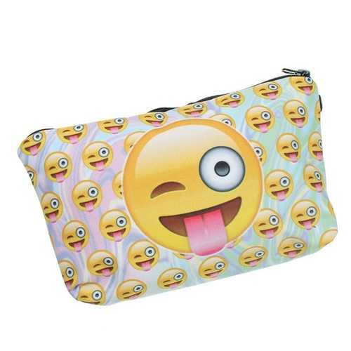 3D Print Emoji Kids Pencil Case Phone Pouch Cosmetic Casual Clutch