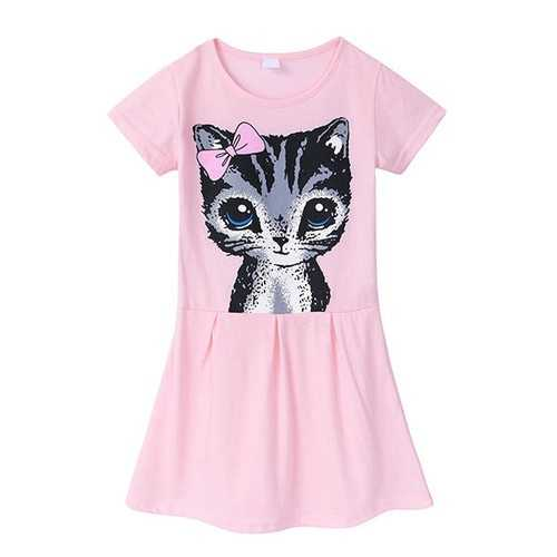 Cat Pattern Girls Dress For 3Y-11Y