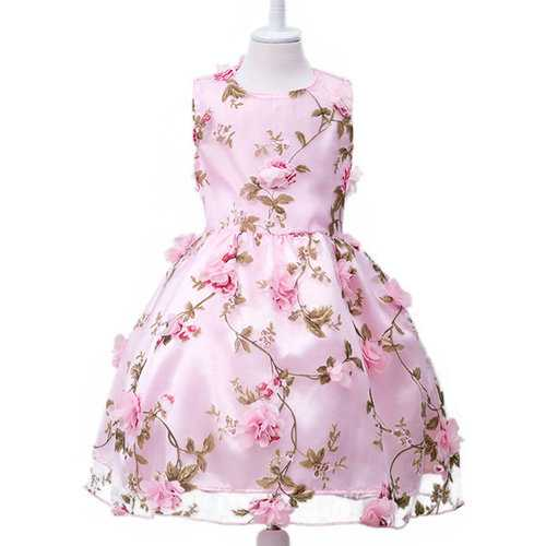 Girls Flower Sleeveless Princess Dress