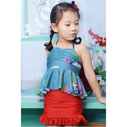 Girls Halter Backless Ruffle Flounce Siamese Floral Elastic One Pieces Bathing Suits