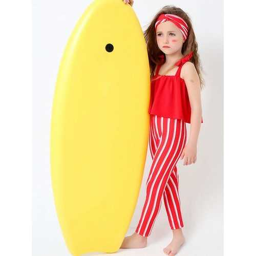 Lovely Girls Striped Ruffle Backless Breathable One Piece Swimsuit For Girls