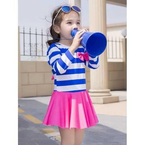 Girl Navy Striped Skirt Hollow Out Back Bowknot One Piece Swimdress