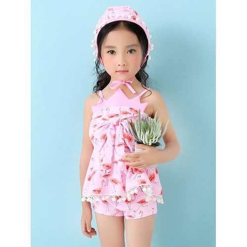 Lovely Flamingo Printing Bowknot Backless Two Pieces Swimsuit For Girls