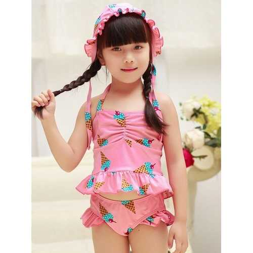 Halter Ice Cream Cartoon Printing Ruffle Wave Side Sweet Split Swimming Suit For Girls
