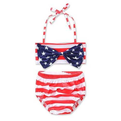 Cute Girls American Flag Star Swimsuit