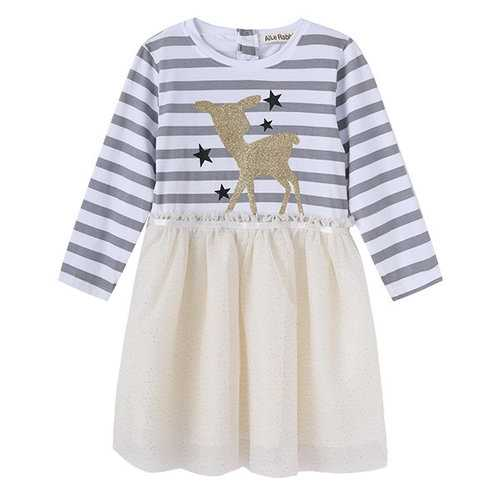 Patchwork Stripe Deer Star Dresses for Girls