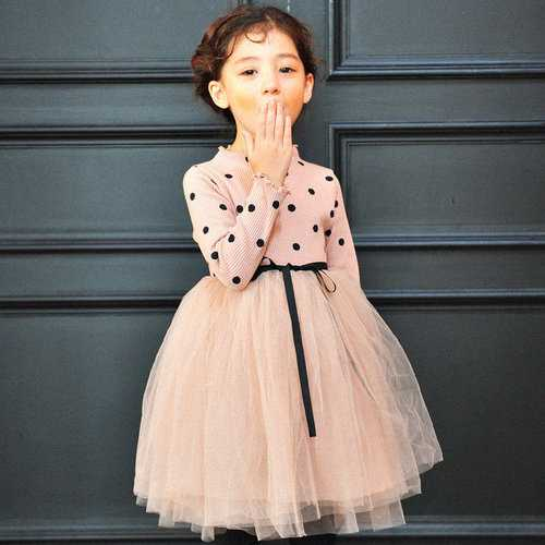 Patchwork Dot Girls Tulle Dresses For 3Y-11Y