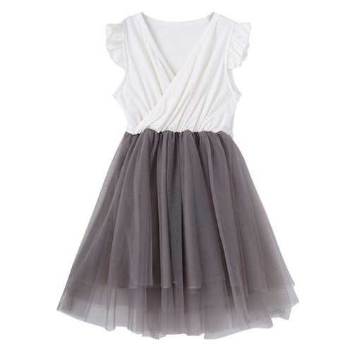 Ruffle Sleeve Girls Tulle Dresses For 3Y-11Y