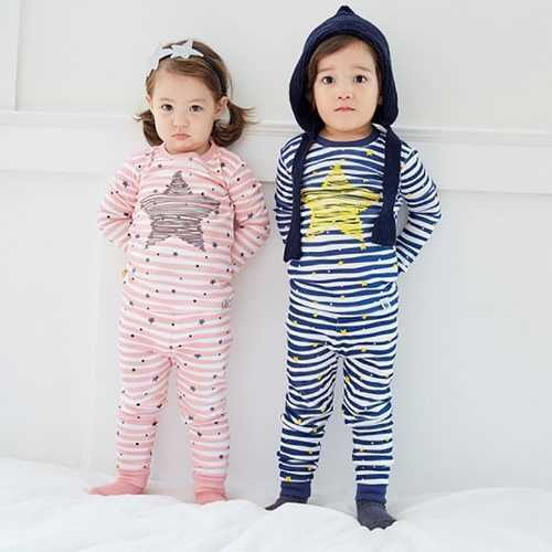 Star Printed Boys Girls Pajamas Clothing Set