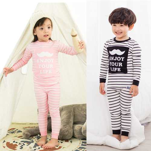 Letter Stripe Print Boys Girls Pajamas