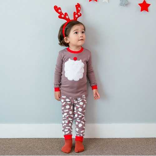 Santa Print Boys Girls Pajama Set