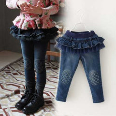 Princess Girls Jeans Cute Pants Tutu Skirt
