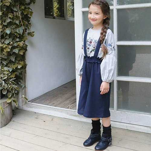 Solid Kids Girls Suspender Pants
