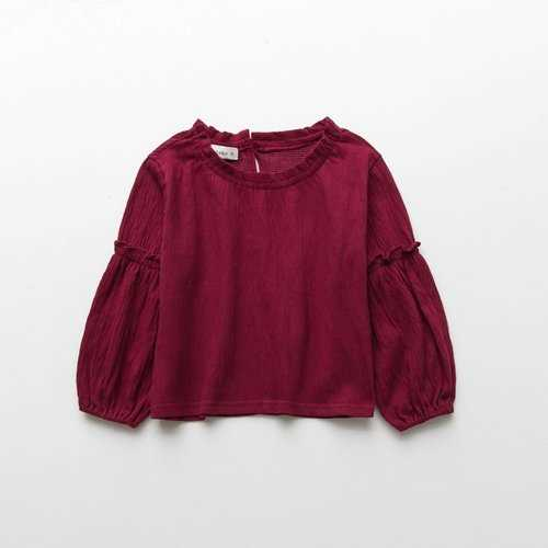 Girls Solid Blouse Long Sleeves