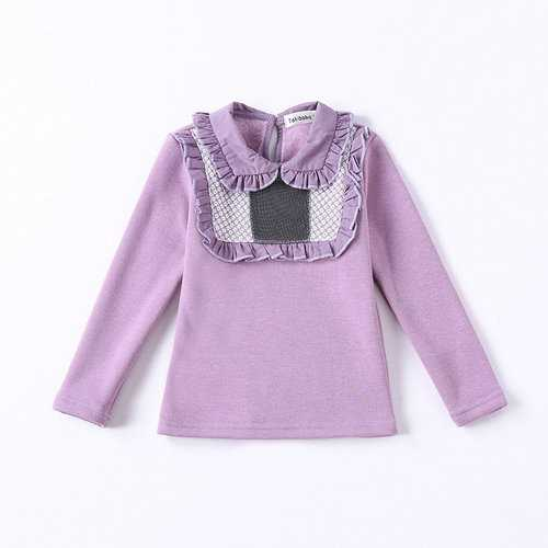 Ruffles Patchwork Girls Tops Shirt