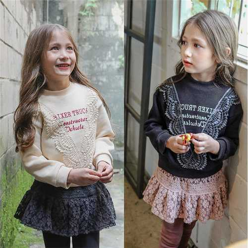 Girls Lace Letter Printed Sweatshirts