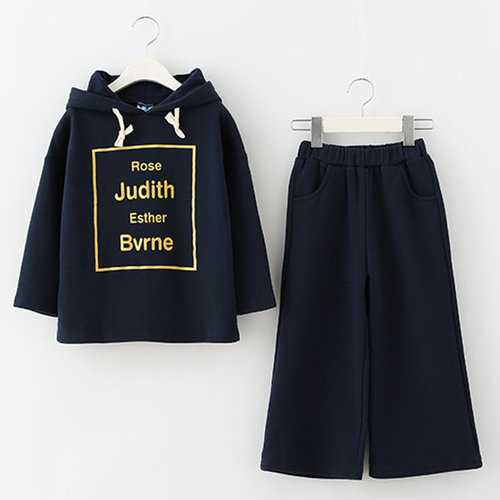 Girls Dark Blue Hoodie + Pants Suits