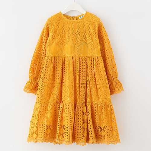 Yellow Lace Bohemian Girls Dress