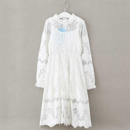Lace Flower Long Dress for Girls