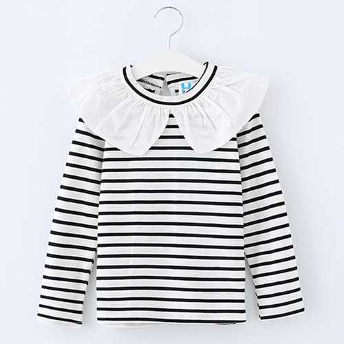 White Striped Ruffle Collar Girls Tee