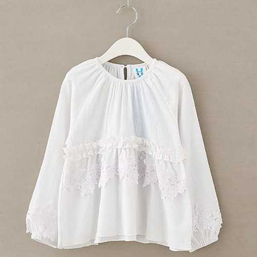 White Cotton Girls Tops Blouses