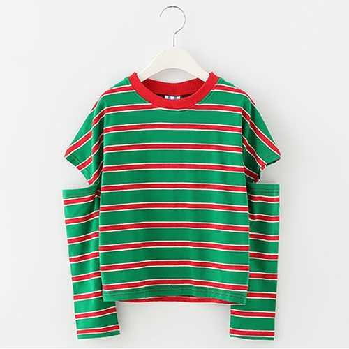 Red Green Striped Girl T Shirt