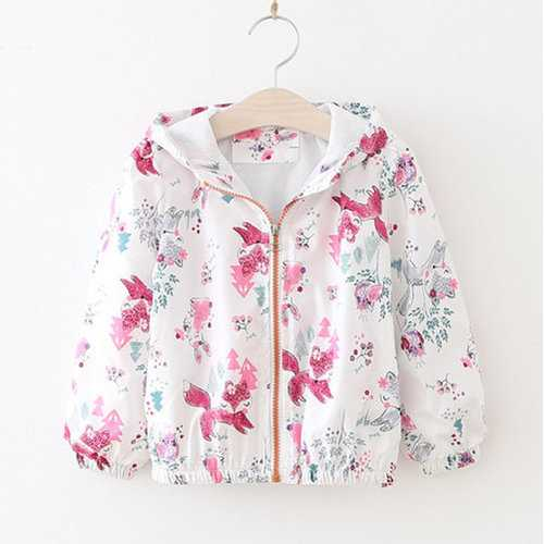 Girls Fox Flower Printed Jacket