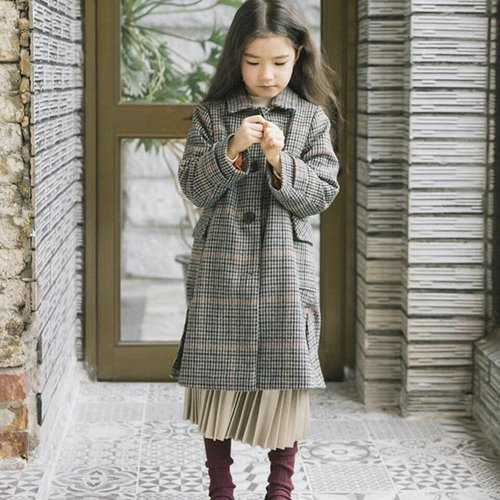 Girl Lapel Lattice Windbreaker Coat