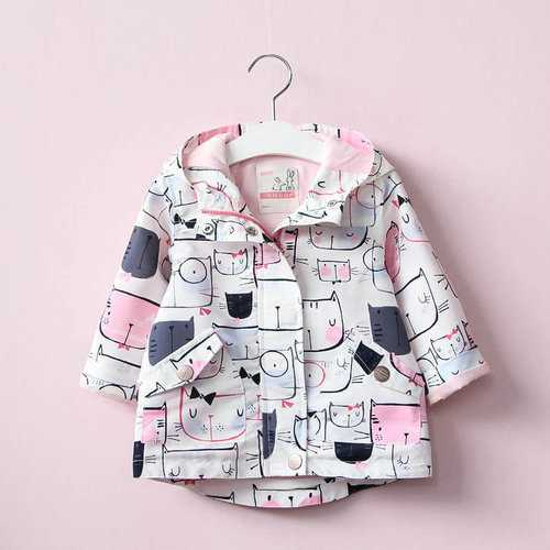 Cat Printed Girl Jacket Trench Coat